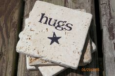 Hugs ~ Black Stamped Travertine Tile Coaster Set With Star Accent by TrendyTrioDesigns on Etsy