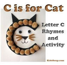 """Your preschool and/or kindergarten students will have fun creating our C Is for Cat letter craft and letter-sound association activities for the hard """"Cc"""" sound as in """"cat."""" C Is for Cat Letter Craft What you need:"""