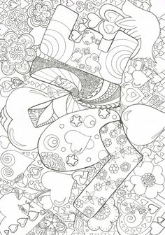 Coloring Book ART Doodles Designs And Drawings Love Abounds