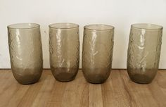 Set of 4 Vintage Anchor Hocking Spicy Brown Sherwood Pattern 12 ounce Flat Beverage Tumbler Glasses by yourmamashouse on Etsy