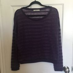 Purple shadow stripe top This top has a boxy fit and is made of a cute shadow stripe material. I wore it with skinny jeans and a black tank underneath. So cute! In great condition! Chloe K Tops Sweatshirts & Hoodies