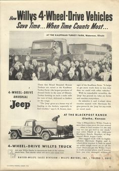 How Willys 4-Wheel-Drive Vehicles save time ... when time counts most ad