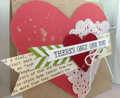 There's Only One You card close-up. Lively stampin up valentines card.