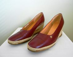 Vintage 1970's Etienne Aigner Women's Shoes, Espadrille Wedge, Size 8.5, Burgandy Red. $22.00, via Etsy.