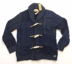 c4ed5f127 Details about Denim Supply Ralph Lauren Men Patchwork Thick Cable Knit Sweater  Toggle Cardigan