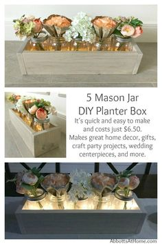 Make this quick and easy DIY 5 Mason Jar Planter Box for just $6.50. Makes great home decor, gifts, craft party projects, wedding centerpieces, and more. Can be sold at craft fairs and online too.