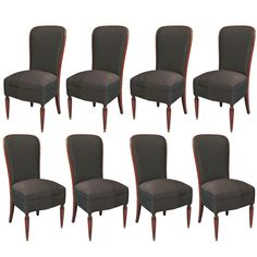 Set of 8 French Art Deco High-backed Rosewood Dining Chairs | From a unique collection of antique and modern dining room chairs at https://www.1stdibs.com/furniture/seating/dining-room-chairs/