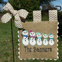 Custom Burlap Garden Flag  Snowman Family  by sewgoddesscreations
