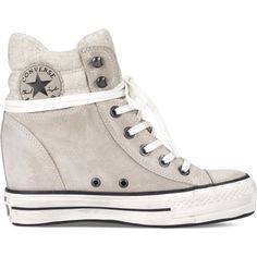 Converse Chuck Taylor Platform Plus Collar – grey Sneakers ($95) ❤ liked on Polyvore featuring shoes, sneakers, grey, grey wedge shoes, converse trainers, grey shoes, gray sneakers and grey sneakers