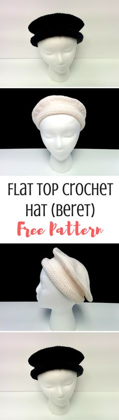 This flat top beret is a cute and different design you're going to love! Made in black and white, it's unisex, but add color to make it pop and make it your own! Get the free crochet hat pattern here