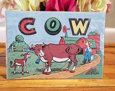 REDUCED PRICE......Vintage Pre School Alphabet Spelling Cut Out Farm Animal Puzzle