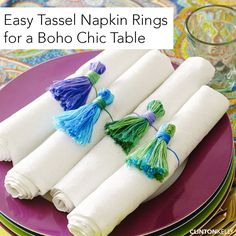 Use a couple skeins of embroidery floss to make these effortlessly chic tassel napkin rings