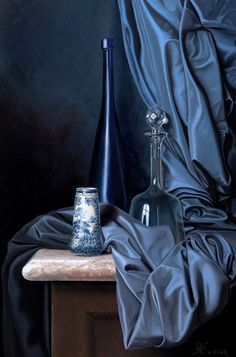 Blue - still life - painting - Walter Leclair schilderijen Still Life Drawing, Painting Still Life, Still Life Art, Still Life Photography, Creative Photography, Art Photography, Drapery Drawing, Still Life Pictures, Academic Art