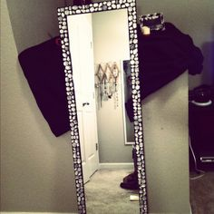 Bling mirror my sister and I made for her dorm room #bling #crafty #diy #mirror #dormdecor