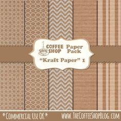 "Free, commercial use OK, CoffeeShop ""Kraft"" Digital Paper set!"