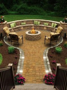 flagstone patio wooden deck firepit - Google Search