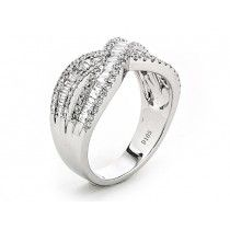 18K White Gold Lady`s ring with 80 Round diamonds/0.48R and 46 Baguette diamonds/0.52B