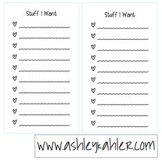 stuff I want free printable list sheets Filofax personal