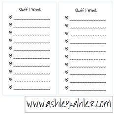stuff I want free printable list sheets Filofax personal