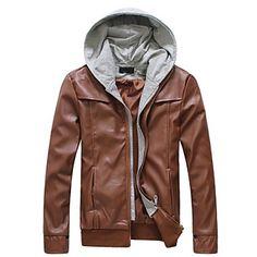 383c5e37b1b Men s Casual Fashion Zippere Leather Coat
