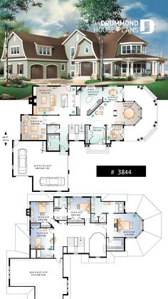 Lakefront 6 Bedroom House Plan, Garage, Large on Amazing Garage Ideas 6597 Sims 4 House Plans, House Layout Plans, New House Plans, Dream House Plans, Modern House Plans, House Layouts, Beach House Floor Plans, Large House Plans, Dream Houses