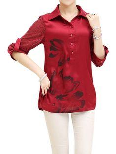 Elegant Modern Women Floral Long Sleeve Chiffon Shirt