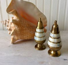 Vintage Brass and Inlaid Mother of Pearl, Salt & Pepper Skakers, Coastal, Nautical, Cottage, Mid Century, Hollywood Regency, Kitchen Decor