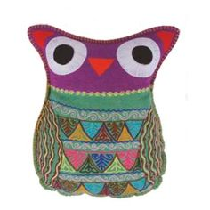 Felt Owl Accent Pillow - Purple w/Embroidery