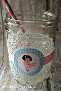 Adorable mason jars for a Dora party