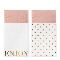 20 Serviettes roses avec porte-couverts