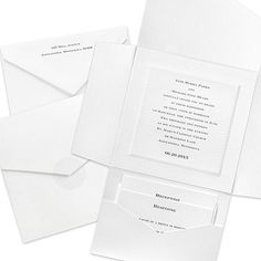 Wrapped in Pearl Wedding Invitation with Pocket  Can use the blue ink and ribbon.