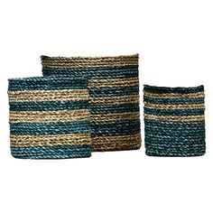Merrick Basket, Blue (Set of 3) by Satara | Zanui