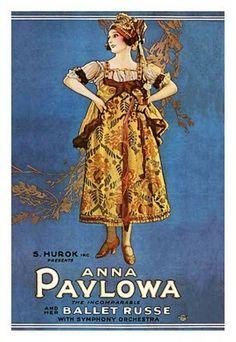 Poster ter aankondiging van een optreden van Anna Pavlova in het Ballet Russe.