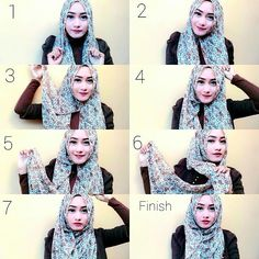 Here are the steps for this style  1. Place the hijab on your head with a long and short sides  2. Pin under your chin with a safety pin  3. Bring the short side on the top of your head for some volume  4. Pin it to secure it using a straight pin  5. Take the ong side  6. Bring it under the fabric left from the short side  7. And wrap it all over your head keeping your chest covered  8. Pin it on the top of your head