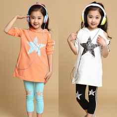 2pcs hoodie+leggings girl spring summer star cotton clothing set casual girls clothes sets 2014 for baby children kids TZ72