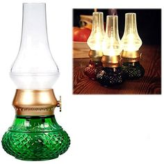 Flameless LED Light, Decorative Rechargeable Flameless Candle Lantern, Vintage Oil Table Lamp with Blow ON/OFF Control, Dimmer Control Key, Kerosene Lamp , Bedside Lamp ,Small Night Light (Green) * Details can be found by clicking on the image. (This is an affiliate link) #LightingCeilingFans