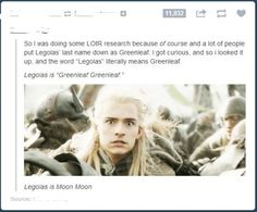Legolas is MOON MOON! This just made my whole life...