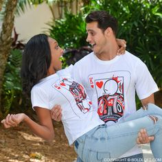 "Let your honey be reminded that they are always on your mind with BoldLoft ""You're My Other Half"" His & Hers Matching Couple Shirts! Cute Christmas gifts for him or her. #hisandhers #christmasgifts"
