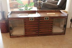 Handcrafted Custom Luxury Dog Crate & Bench. by DrunkenPugDecor