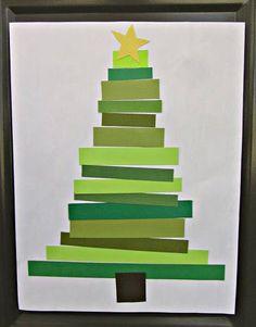 Preschool Christmas Craft: Paper Strip Christmas Tree, cut, then decorate! Preschool Christmas, Noel Christmas, Christmas Activities, Christmas Crafts For Kids, Christmas Projects, Preschool Crafts, Holiday Crafts, Holiday Fun, Fun Crafts
