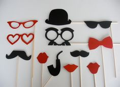Lot Photobooth Mariage Rouge et Noir : Loisirs créatifs, scrapbooking par accessoires-photobooth