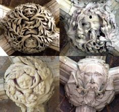 Green Men on roof bosses in Exeter Cathedral, Somerset, England (photos Maddy Aldis-Evans)