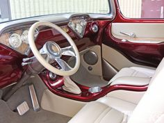 This 1956 Chevrolet Pickup hasn't been on the road very long, but has already caught the eye of discerning critics. Robert's knack for the build certainly paid off. Custom Car Interior, Car Interior Design, Truck Interior, 57 Chevy Trucks, Chevy Pickups, Pickup Trucks, Chevrolet 3100, Custom Trucks, Custom Cars