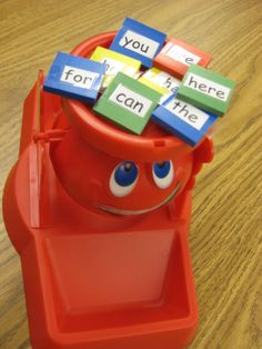 Don't Spill the Words - Start with a few sight words and add more as kids progress!  (Works well for words from word work too.) Could put rhythms, different notes (add up the beats), or notes on the music staff. Could even put more than one note on the music staff to spell a word. For more pins like this visit: http://pinterest.com/kindkids/loving-language-arts-charlotte-s-clips/