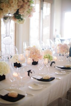 Way to incorporate Black white and blush wedding decor Party Decoration, Wedding Reception Decorations, Wedding Centerpieces, Wedding Table, Table Decorations, Reception Ideas, Rustic Wedding, Black Centerpieces, White Centerpiece