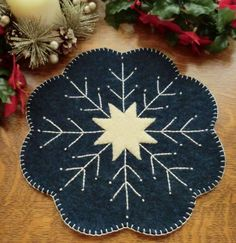 Sew Easy, Sew Quick, Sew Pretty! Wool Snowflake Candle Mat Wool Kit-Caths Pennies Penny Rug Patterns, Wool Applique Patterns, Felt Applique, Felted Wool Crafts, Felt Crafts, Wool Mats, Snowflake Quilt, Snowflakes, Wool Quilts