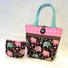 Cute Elephants Little Girls Purse Mini Tote Bag and Coin Purse Set Handmade Pink Turquoise Brown MTO via Etsy