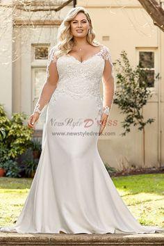 7bad0627fb8 Sheath Long Sleeves Wedding dresses Plus Size Bridal Gown nw-419