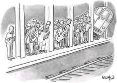 size: Premium Giclee Print: People waiting for a subway peek onto the tracks in anticipation of its ar… - New Yorker Cartoon by Robert Leighton : Entertainment