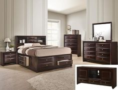 4 pc A & J Homes studios emily dark cherry wood finish design headboard queen bedroom set with storage drawers. This set includes the Bed, nightstand, dresser and mirror. Furniture Market, Cool Furniture, Bedroom Furniture, Bedroom Decor, Furniture Buyers, Furniture Stores, Kitchen Furniture, Furniture Sets, Cherry Wood Bedroom